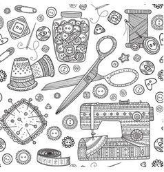 Seamless pattern with needlework tools sewing vector
