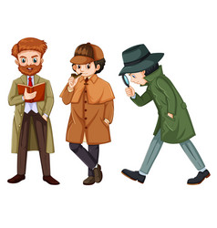 set of detective character vector image