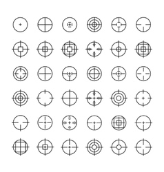 Set of different flat crosshair sign icons Line vector