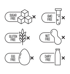 set of food diet labels vector image