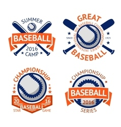 set of old style baseball labels with ball vector image