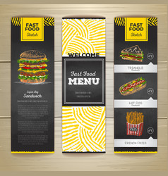 set vintage chalk drawing fast food menu banner vector image