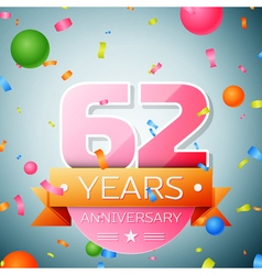 Sixty two years anniversary celebration background vector