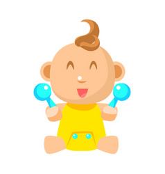 small happy baby in yellow onesie with two toy vector image