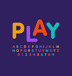 Soft foam puzzle font alphabet letters and numbers vector