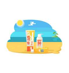 spf sun protection factor and labeling moisturiser vector image