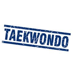 square grunge blue taekwondo stamp vector image