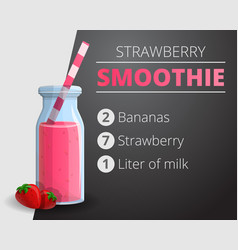 Strawberry smoothie concept background cartoon vector