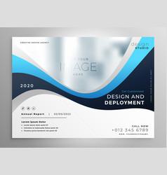 Stylish blue wavy business presentation banner vector