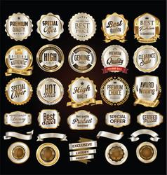 Super sale golden retro badges and labels vector