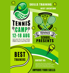 tennis rackets and balls sport camp vector image