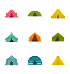 tent icon set flat style vector image vector image