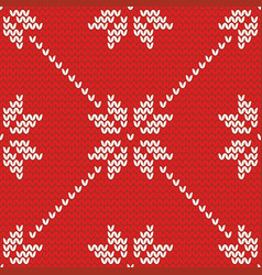 tile knitting red and white pattern or winter vector image