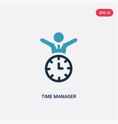 Two color time manager icon from time management vector