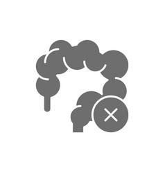 Unhealthy intestines colon grey icon isolated vector