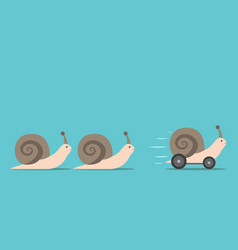 unique snail with wheels vector image