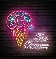 Vintage glow poster with ice cream ball in cone vector