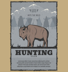 vintage poster for buffalo hunt vector image