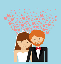 wedding couple lovely invitation hearts decoration vector image