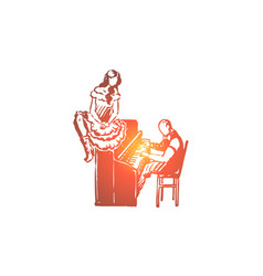 wild west woman piano romance concept vector image