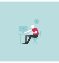 Workplace concept Man sitting at the desktop and vector image