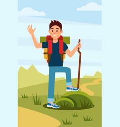 young hiker waving hand tourist with backpack and vector image