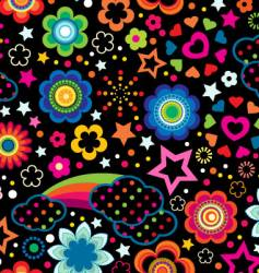 floral rainbow background vector image vector image