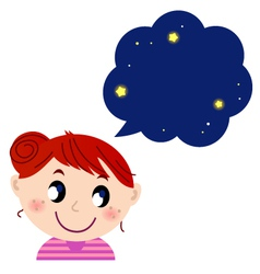 Little cute girl with dreaming bubble vector image vector image