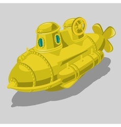 Toy yellow submarine isolated object vector