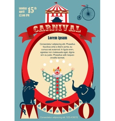 Vintage carnival or circus invitation vector