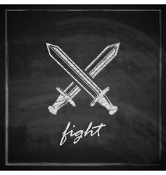 vintage with swords on blackboard background vector image vector image
