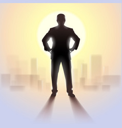 Black silhouette of man standing in bright vector