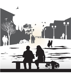 couple sitting on a bench vector image vector image