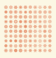 Red snowflakes icon on yellow background vector