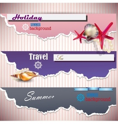 Set of Holiday banners with shells and place for vector image