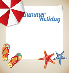 Summertime traveling template with beach summer ac vector image