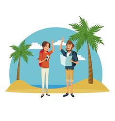Traveler couple beach landscape vacation vector