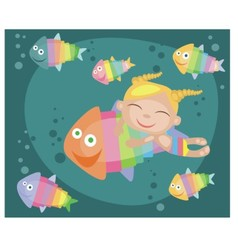Tropical fishes and girl vector image vector image
