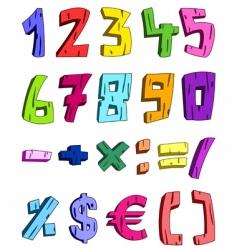 3d cartoon numbers vector image vector image