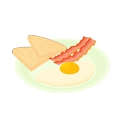 Bacon and eggs icon cartoon style vector image