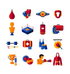 Boxing flat icons collection vector