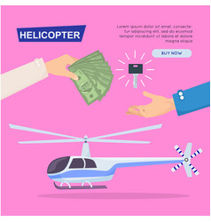 buying new helicopter online web banner vector image vector image