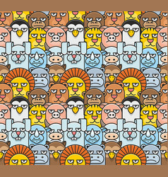 cartoon animals pattern seamless vector image