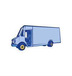 Delivery Van Side Woodcut vector image