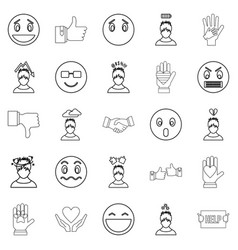 emotion icons set outline style vector image