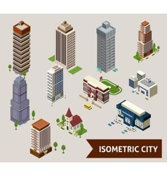 Isometric City Isolated Icons vector image