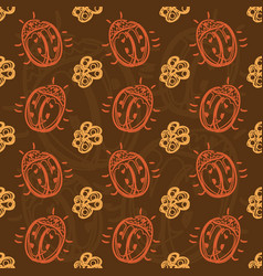 pattern with beetles and flowers vector image vector image
