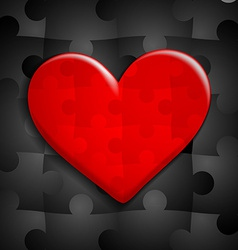 red heart of puzzle on a background of black vector image vector image