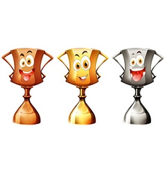 Trophy with happy face vector image