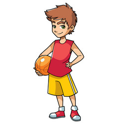 basketball boy on white vector image
